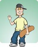 Gelukkige tiener met skateboard Royalty-vrije Stock Afbeelding