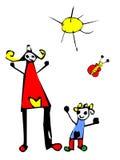 Gelukkige tijd: jong geitje tekening van mamma en dochter Royalty-vrije Stock Afbeeldingen