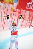 Gelukkige Tina Weirather op de Alpiene Kop van de Wereld van de Ski FIS Royalty-vrije Stock Afbeeldingen