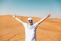 Gelukkige toerist in Safari Desert stock afbeelding