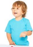 Gelukkige twee jaar oude jongens Stock Foto's