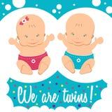 Gelukkige Tweelingen Jongen en meisje stock illustratie