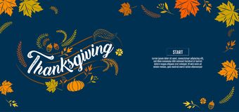 Gelukkige Typografische dankzegging, kalligrafie, Type, vector Stock Afbeelding