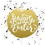 Gelukkige typografische de groetkaart van Pasen Pasen-het Van letters voorzien met wa Stock Foto's
