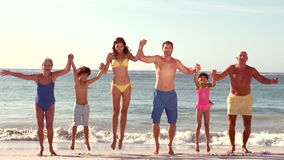 Gelukkige uitgebreide familie die met omhoog handen springen stock footage