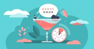 Gelukkige uur vectorillustratie Vlak uiterst klein vrij de personenconcept van de alcoholtijd royalty-vrije illustratie