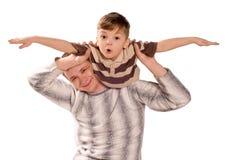 Gelukkige vader en zijn kind Stock Foto's