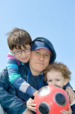 Gelukkige vader en zonen Stock Foto
