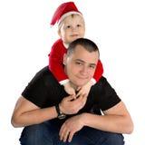 Gelukkige vader met zijn zoon Stock Afbeelding