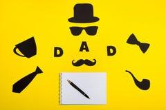 Gelukkige Vader` s dag Prentbriefkaar voor papa Royalty-vrije Stock Afbeelding