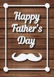Gelukkige Vaderdag Typografische Achtergrond met snor Royalty-vrije Stock Foto