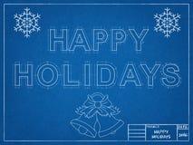 Gelukkige Vakantie 2016 - Blauwdruk Royalty-vrije Stock Afbeelding
