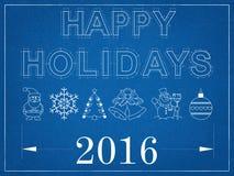 Gelukkige Vakantie 2016 - Blauwdruk Royalty-vrije Stock Fotografie