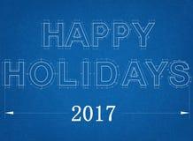 Gelukkige Vakantie 2017 - Blauwdruk Royalty-vrije Stock Fotografie