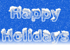 Gelukkige Vakantie die in ijsbrieven van letters voorzien met sneeuw Royalty-vrije Stock Fotografie