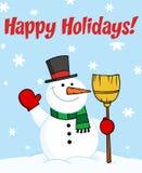 Gelukkige vakantie die met een sneeuwman begroeten Stock Afbeeldingen
