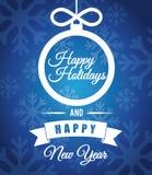 Gelukkige vakantie en vrolijke Kerstmiskaart Royalty-vrije Stock Foto's