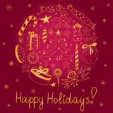 Gelukkige Vakantie! Hand Getrokken Gouden die Krabbelvakantie met Suikergoed, Giften, Kaars, Sparren, Engel, Sterren en Sneeuwvlo stock illustratie