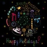 Gelukkige Vakantie! Hand Getrokken Kleurrijke die Krabbelvakantie met Suikergoed, Giften, Kaars, Sparren, Engel, Sterren en Sneeu stock illustratie