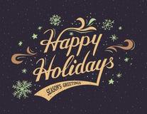 Gelukkige Vakantie hand-van letters voorziet kaart Stock Afbeelding