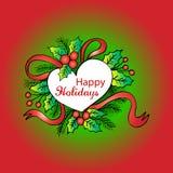 Gelukkige Vakantie Kerstmiskalligrafie Stock Illustratie