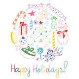 Gelukkige Vakantie! Kleurrijke Hand Getrokken Grappige die Krabbelvakantie met Suikergoed, Giften, Kaars, Sparren, Engel, Sterren Stock Foto