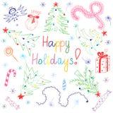 Gelukkige Vakantie! Kleurrijke Kinderentekeningen van Sparren die in een Cirkel worden geschikt Grappig Krabbelsuikergoed, Slinge vector illustratie