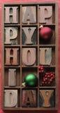 Gelukkige vakantie met ornamenten, bessen Stock Fotografie