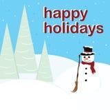 Gelukkige Vakantie - Sneeuwman Royalty-vrije Stock Afbeeldingen