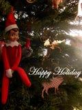 Gelukkige Vakantie van Elf op de Plank royalty-vrije stock fotografie