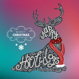 Gelukkige vakantie Vrolijke Kerstmis en Gelukkig nieuw jaar kleurrijk vectorontwerp 2017 Royalty-vrije Stock Afbeeldingen