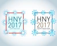 Gelukkige vakantiekaart met sneeuwvlokken en kleurencijfers 2017 nieuwe het jaarkaart van 2017 de illustratie van het de sneeuwaa Stock Afbeeldingen