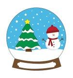 Gelukkige Vakantiekerstmis Snowglobe en Boom Royalty-vrije Stock Foto's