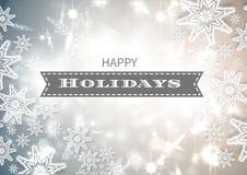 Gelukkige vakantietekst met sneeuwvlokken Royalty-vrije Stock Fotografie