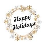 Gelukkige Vakantietekst voor de winterviering van Kerstmis en Nieuwjaar kalligrafie Stock Fotografie