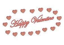 Gelukkige Valentijnskaart die door harten wordt omringd Stock Illustratie
