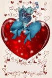 Gelukkige Valentijnskaart Hippo met hart en lint Stock Afbeeldingen