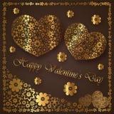 Gelukkige valentijnskaart` s dag - de inzameling van hartbloemen Stock Foto's