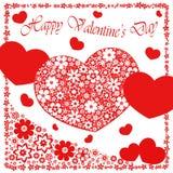Gelukkige valentijnskaart` s dag - de inzameling van hartbloemen Stock Fotografie