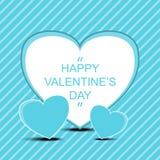 Gelukkige valentijnskaart` s dag met drievoudige hartenachtergrond vector illustratie