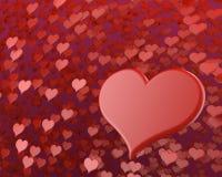 Gelukkige valentijnskaart` s dag velen rode harten 3D illustratie als achtergrond royalty-vrije illustratie