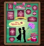 Gelukkige valentijnskaartdag met elementen Megareeks stickers, tekens, etiketten, hart, heden, het malplaatje van het giftontwerp Royalty-vrije Stock Foto's