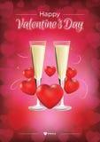 Gelukkige Valentijnskaarten Dag Champagne Royalty-vrije Stock Afbeeldingen