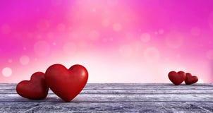 Gelukkige Valentijnskaarten met de kaartachtergrond van de hartgroet Stock Foto