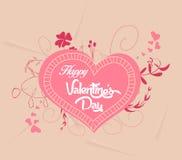 Gelukkige valentijnskaarten met hart bloemen stock illustratie