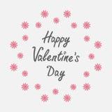 Gelukkige valentijnskaartendag De kaart van de liefde Rond kader met roze madeliefje Vlakke ontwerpstijl royalty-vrije illustratie