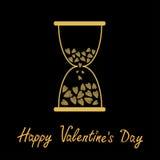 Gelukkige valentijnskaartendag De kaart van de liefde Zandloper met binnen harten De gouden fonkelingen schitteren textuur Zwarte royalty-vrije illustratie