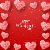 Gelukkige valentijnskaartendag en het wieden van ontwerpelementen Vector illustratie Roze Achtergrond met Ornamenten, Harten Krab Royalty-vrije Stock Foto's