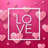 Gelukkige valentijnskaartendag en het wieden van ontwerpelementen Vector illustratie Roze Achtergrond met Ornamenten, Harten Krab Stock Foto