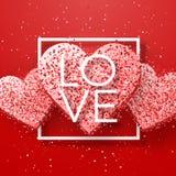 Gelukkige valentijnskaartendag en het wieden van ontwerpelementen Vector illustratie Roze Achtergrond met Ornamenten, Harten Krab Stock Afbeeldingen